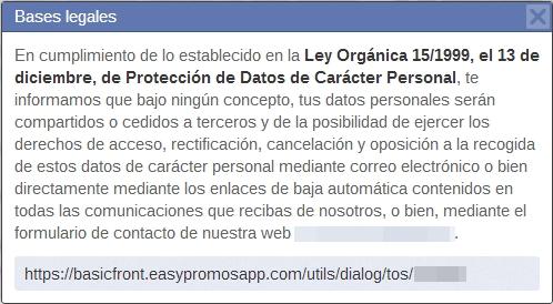bases legales promoción Facebook