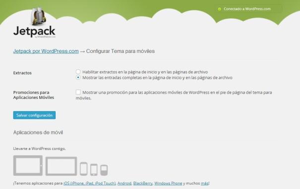 configurar tema movil plugin Jetpack